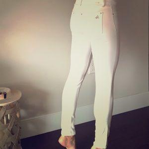 DL 1961 white denim skinny jeans